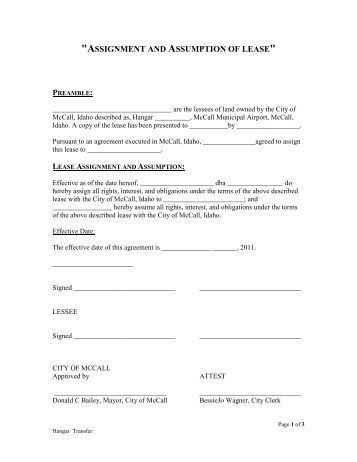Free Template for a Lease Assignment Form