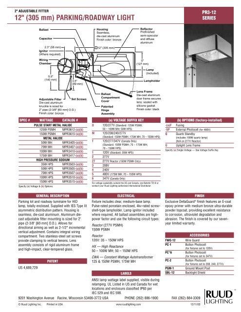 Spec Sheet Ruud Lighting Direct