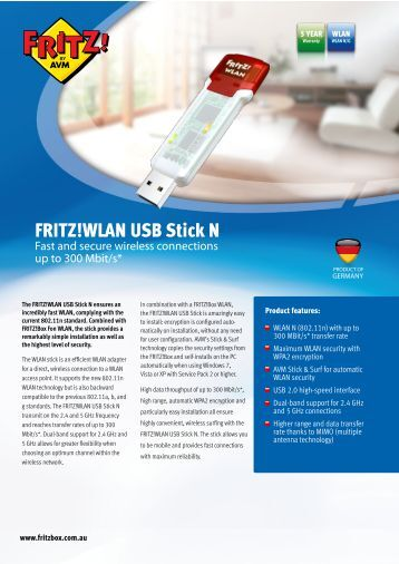 Product Information for AVM FRITZ!WLAN USB Stick - Internode