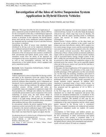 Investigation of the Idea of Active Suspension System Application in ...