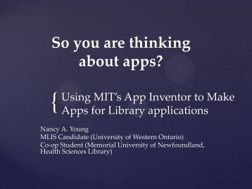 So You're Thinking About Apps for Your Library - CHLA-ABSC