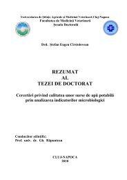 REZUMAT AL TEZEI DE DOCTORAT - USAMV Cluj-Napoca
