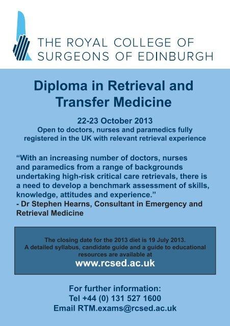 Diploma in Retrieval and Transfer Medicine - aagbi