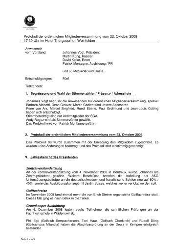 Protokoll MV221009 - swiss greenkeeper association sga