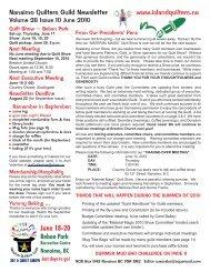 June 18-20 Beban Park - Nanaimo Quilters