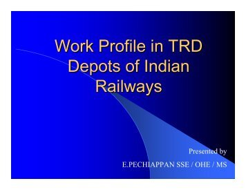 Work Profile in TRD Depots of Indian Railways - Irtsa.net