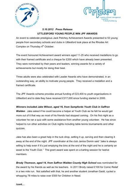 5 10 2012 Press Release UTTLESFORD     - Jack Petchey Foundation