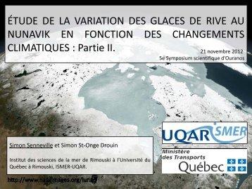 Étude de la variation des glaces de rive au Nunavik en ... - Ouranos