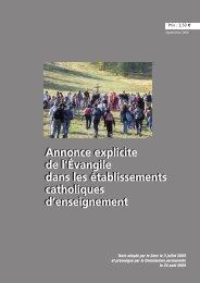 Annonce explicite de l'Évangile dans les établissements catholiques ...