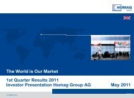 Interim report presentation Q1/2011 - HOMAG Group