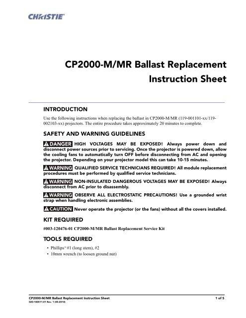 christie cp2000m manual