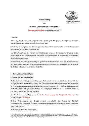 S a t z u n g - bei der DLRG Wettersbach