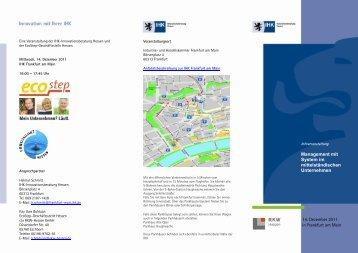Programmflyer - IHK-Innovationsberatung Hessen
