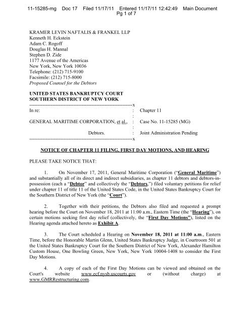 Notice of Chapter 11 Filing, First Day Motions and Hearing