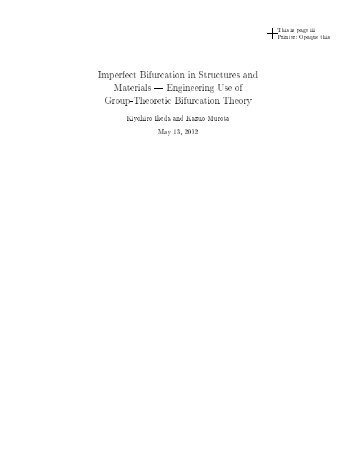 Imperfect Bifurcation in Structures and Materials Engineering Use of ...