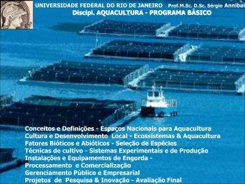 Discipl. AQUACULTURA - Instituto de Biologia da UFRJ