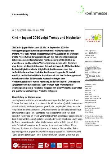 Kind + Jugend 2010 zeigt Trends und Neuheiten - LifePR.de