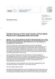 Antrittsvorlesung von Prof. Anja Tuschke und Prof. Martin Plendl an ...