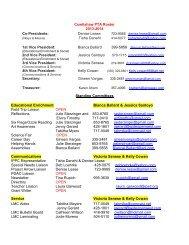 Cowlishaw PTA Roster - Cowlishaw Elementary School