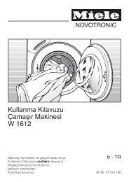 Kullanma Kılavuzu Çamaşır Makinesi W 1612 - Miele Yetkili Servisi