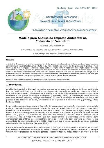Modelo para Análise do Impacto Ambiental na Indústria do Vestuário