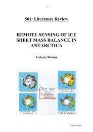 Remote Sensing of Ice Sheet Mass Balance in Antarctica