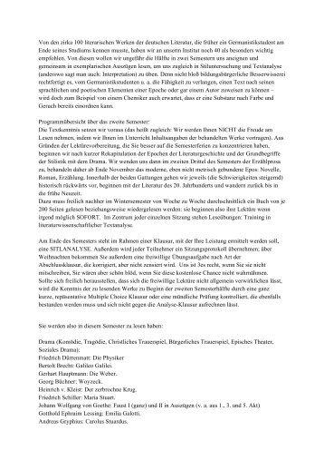 Von den zirka 100 literarischen Werken der deutschen Literatur, die ...