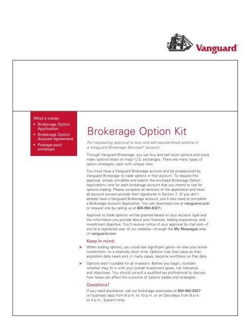 Vanguard Option Application and Agreement