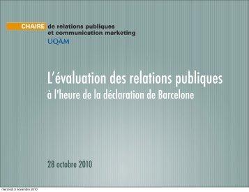 L'évaluation des relations publiques - Chaire de relations publiques ...