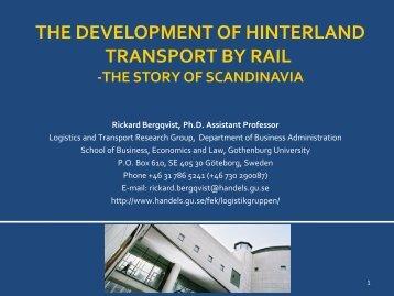 the development of hinterland transport by rail - Dryport
