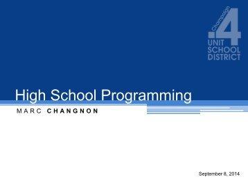 HS programming 9-8-2014