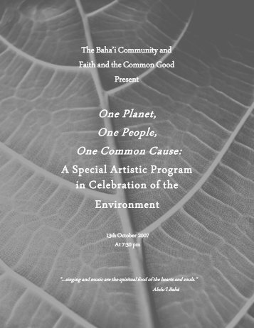 One Planet, One People, One Common Cause: - Bahá'í Computer ...