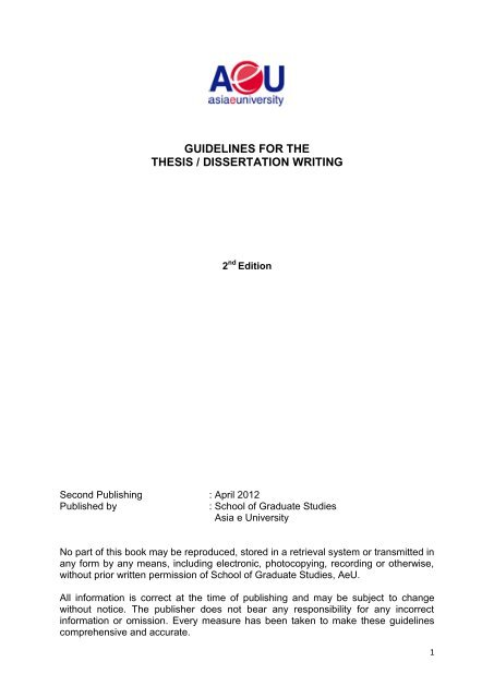 Guideline For The Thesi Dissertation Writing Aeu Apa 15 Space