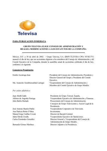 PARA PUBLICACION INMEDIATA GRUPO TELEVISA ELIGE ...
