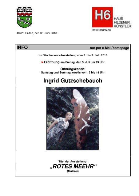 """Ingrid Gutzschebauch """"ROTES MEEHR"""" - Haus Hildener Künstler"""