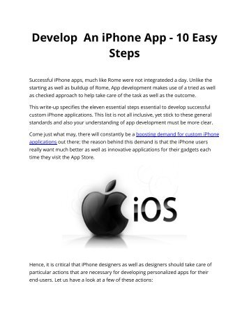 Develop An iPhone App - 10 Easy Steps