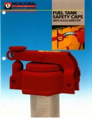 fuel tank safety caps with flash arrester - Protectoseal