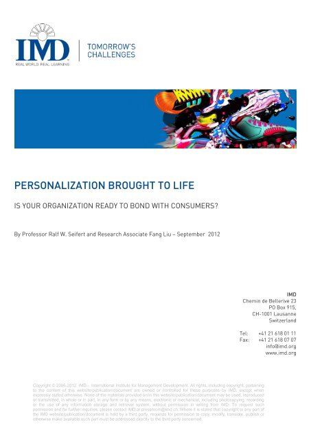PERSONALIZATION BROUGHT TO LIFE - IMD