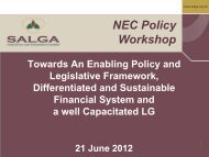 Organised Local Government Perspective - SALGA