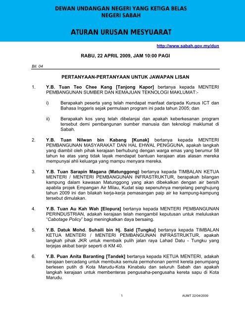 Aturan Urusan Mesyuarat Sabah