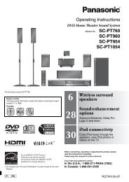 SCPT760 - Operating Manuals for Panasonic Products - Panasonic
