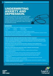 UNDERWRITING ANXIETy AND DEPRESSION. - Legal & General