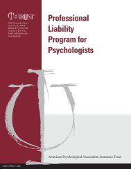 Professional Liability Program for Psychologists - The Trust