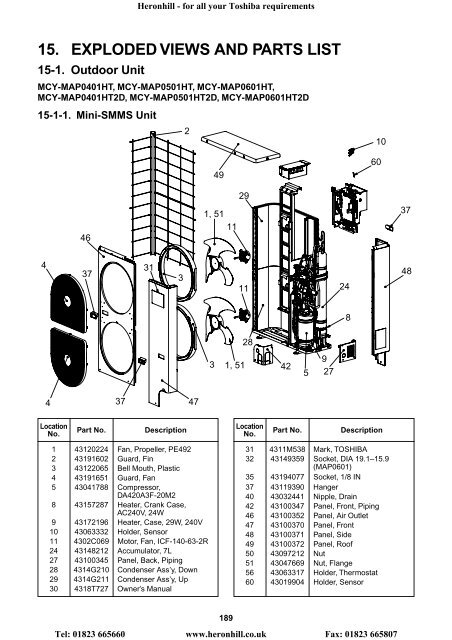 15 Exploded Views And Parts List Heronhill Air Conditioning Ltd