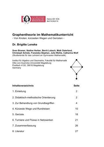 Graphentheorie im Mathematikunterricht - Fakultät für Mathematik ...