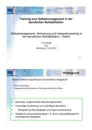 Training zum Selbstmanagement in der beruflichen Rehabilitation ...