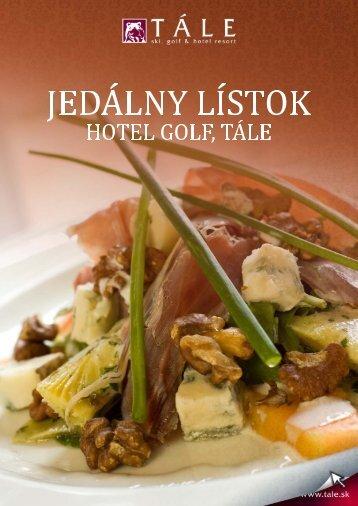 Jedálny lístok hotel Golf - Tále