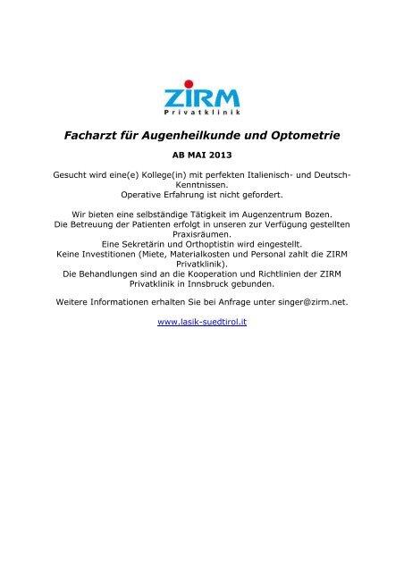 Facharzt für Augenheilkunde und Optometrie - Ordinemedici.bz.it