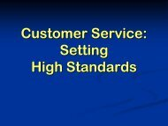 Customer Service: Setting High Standards