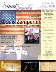 SERvICES & FESTIvALS - Sinai Temple